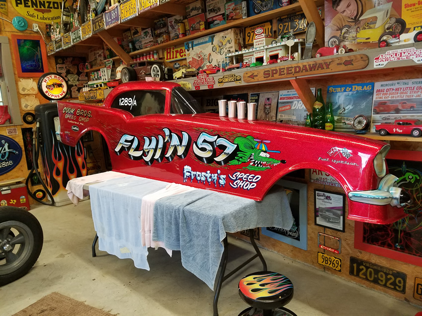 ScottRods 57 Chevy Funny Car Body Hand Lettered by Casey Kennell